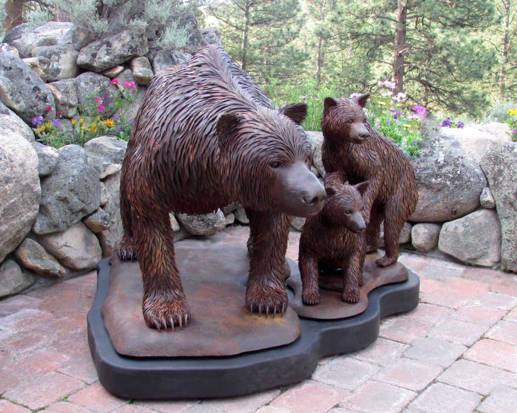 """Dimension: 51"""" Wide x 60"""" Long x 42"""" Tall  The Momma Grizzly and Cubs are on separate bases and can be be sold individually. The black portion of the base is temporary and is used as a pallet for moving them around."""